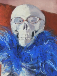 Calavera con feather boa