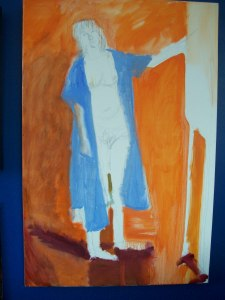 Self Portrait in oil on canvas--last oil painting during chemo and radiation