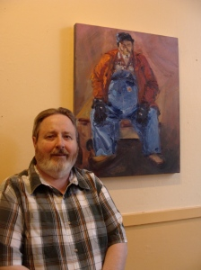"Willy Jones with portrait of himself as the character ""Doug"" in ""Judevine""."