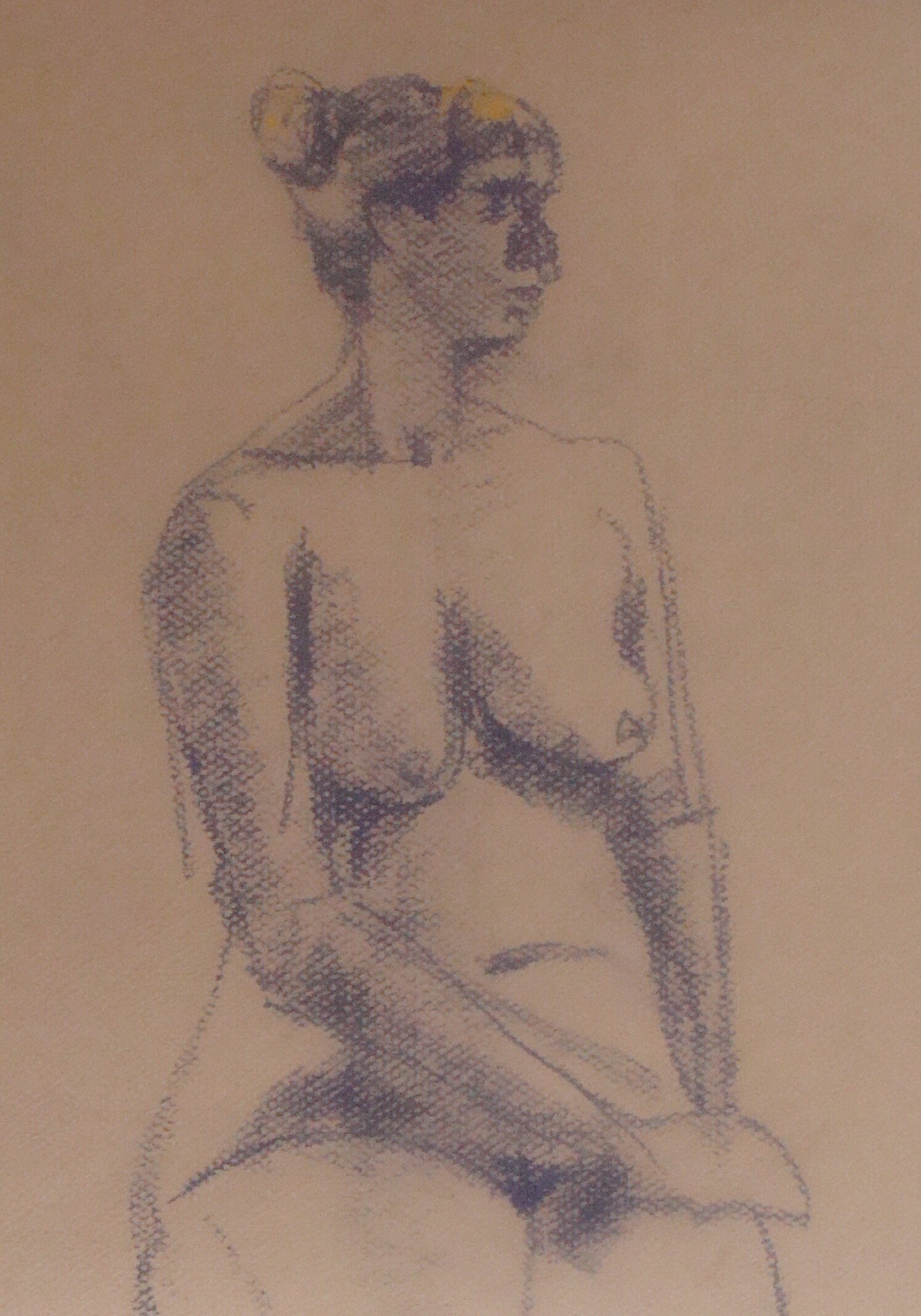 Ls- nude :1 7 Pastel on Canson colored papers and white drawing paper, 28 March 2012. 9-12 minute sketches: